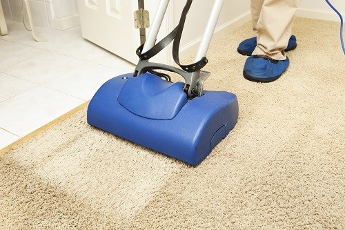 Blue Carpet Cleaner In Use