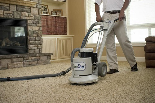Dry Carpet Cleaner Being Used
