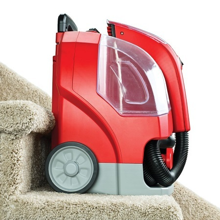 Rug Doctor Portable Spot Cleaner Machine, Red - Corded On Stairs